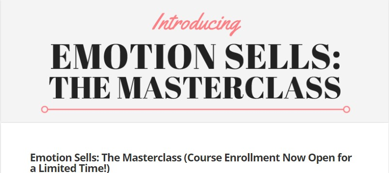 "Screenshot from ""Emotion Sells: The Masterclass"" email course"