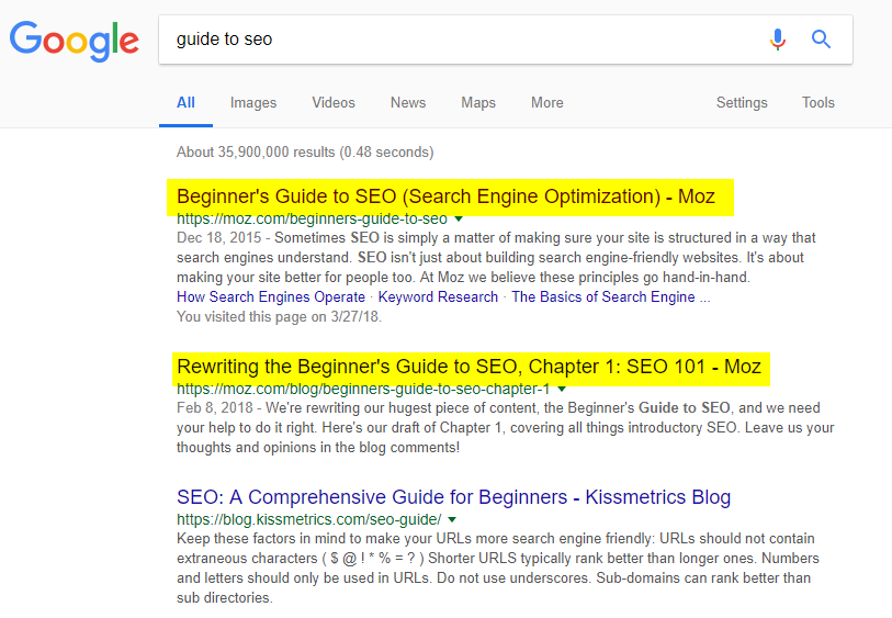 guide to SEO Google results