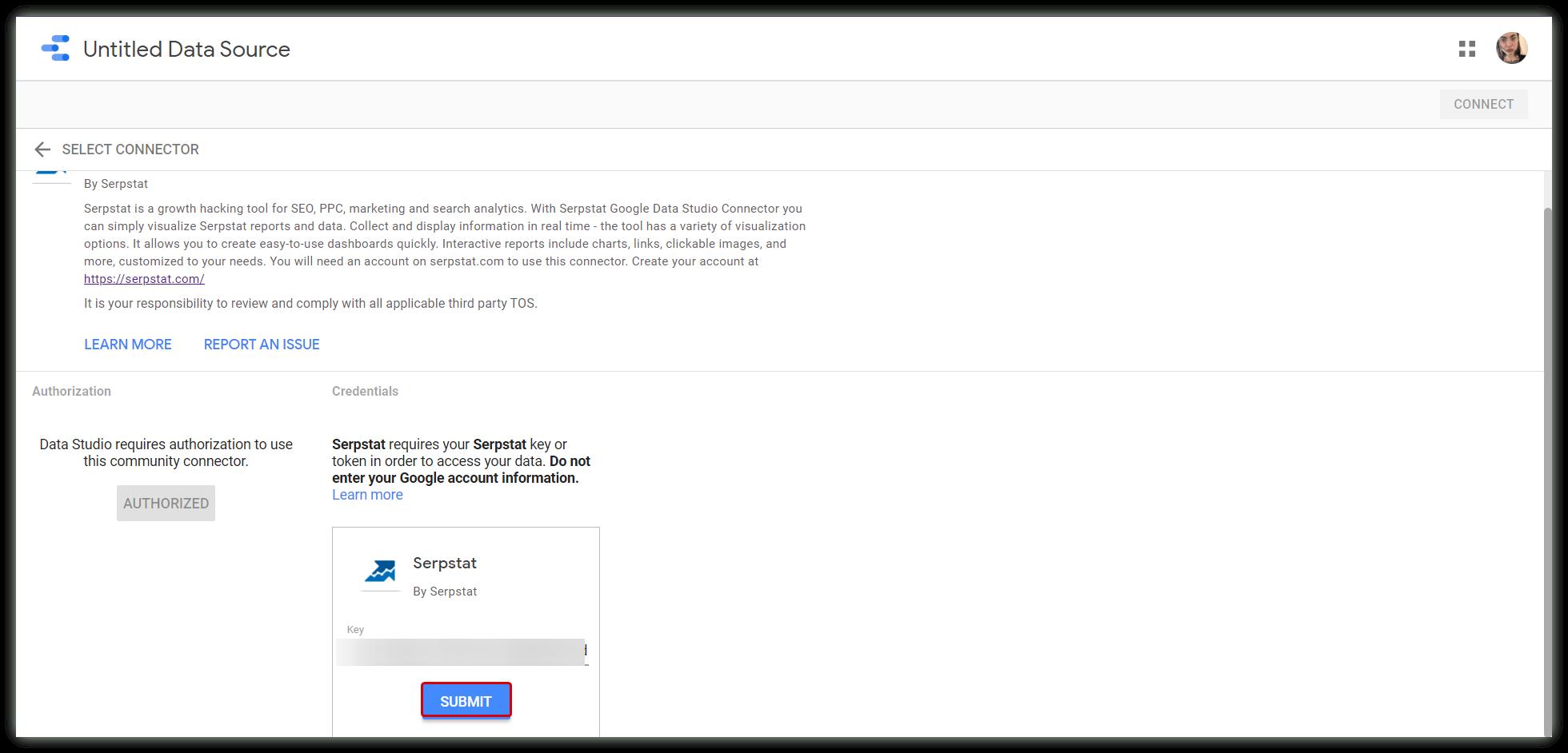 Submit token Data Studio